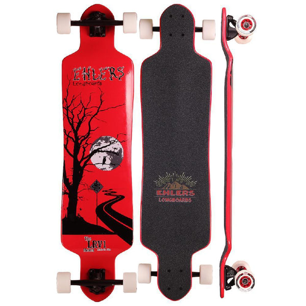 "LRV1 40"" Drop Down Longboard in Red Lunar Rover Ehlers Longboards - Longboards USA"