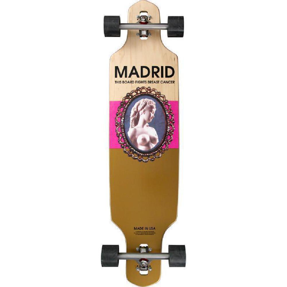 "Madrid Breast Cancer Relief - Shield 39"" Cameo Drop-Thru Longboard - Longboards USA"