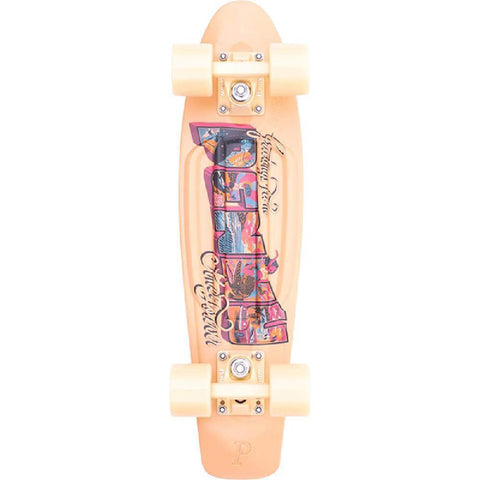 "Penny Board 22"" Postcard Coastal Peach Skateboard Cruiser - Longboards USA"