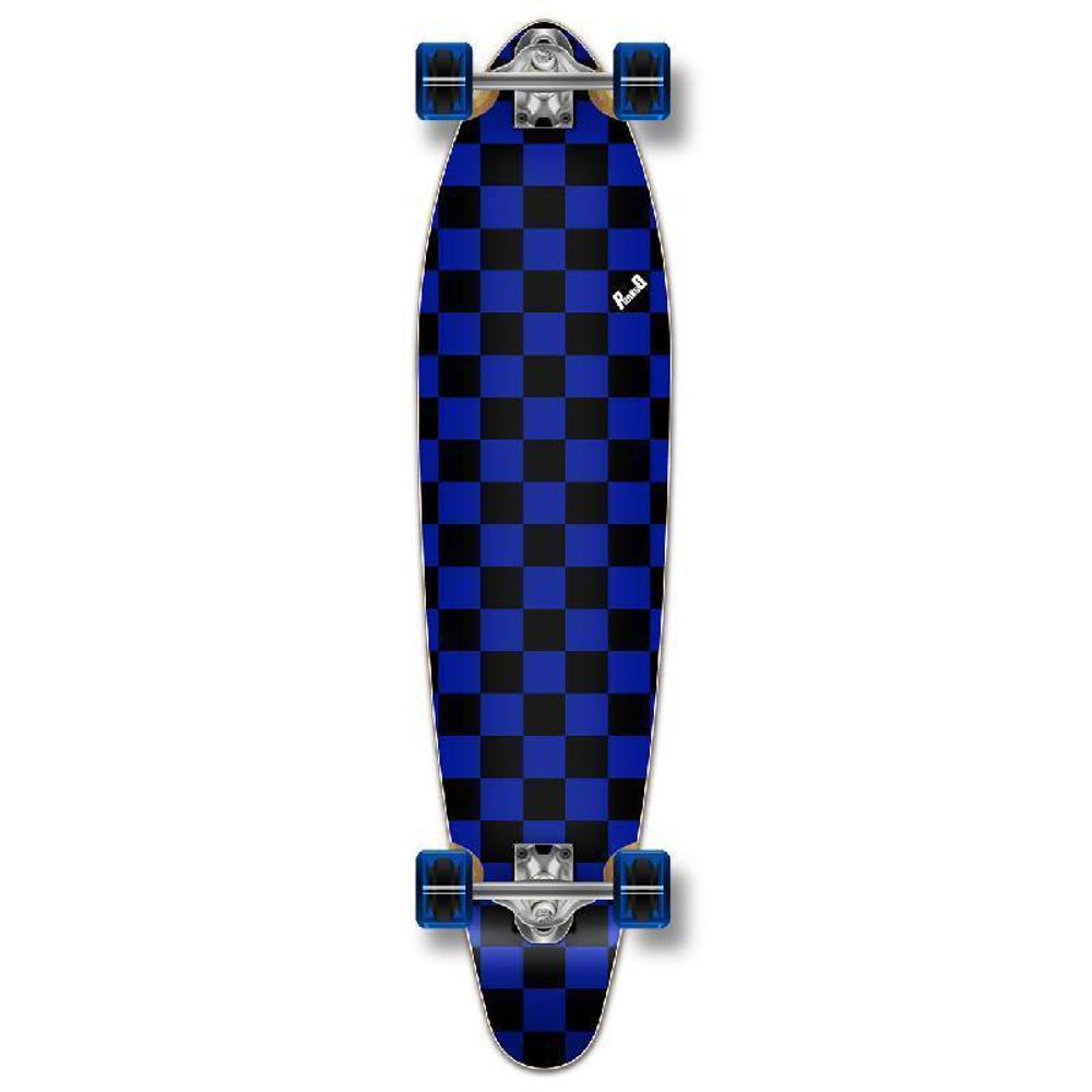 Punked Checkered Blue Kicktail Longboard - Longboards USA