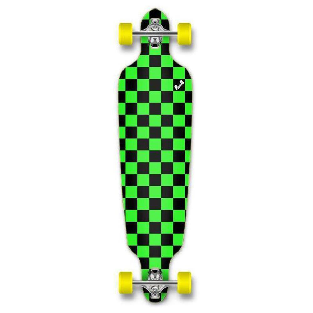 Punked Checkered Green Drop Through Longboard - Longboards USA