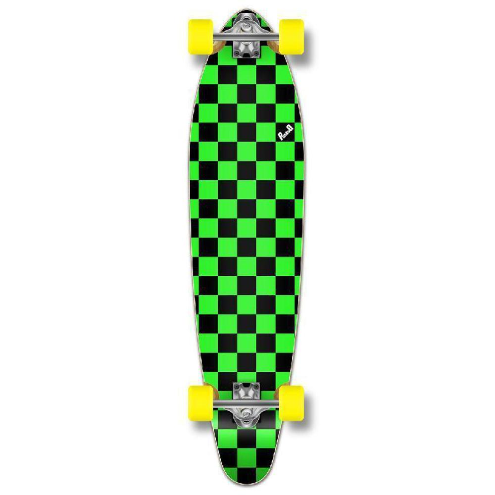 "Punked Checkered Green Kicktail 40"" Longboard - Longboards USA"