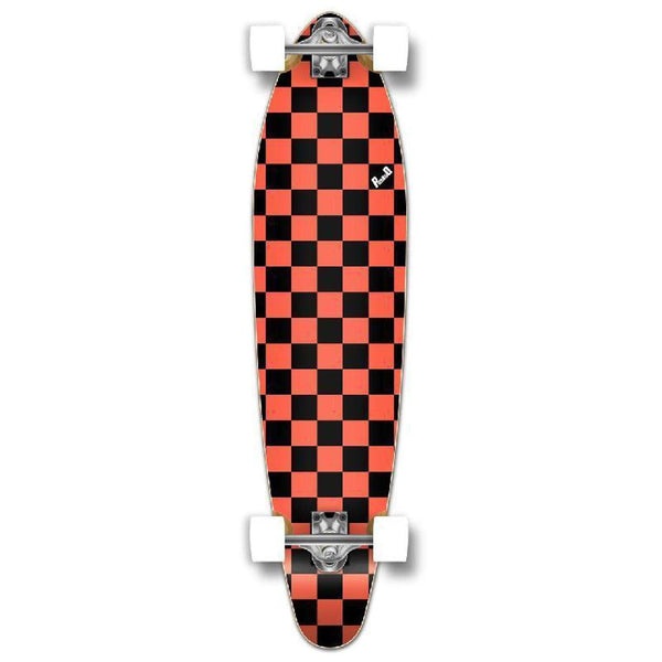 "Punked Checkered Orange Kicktail 40"" Longboard - Longboards USA"
