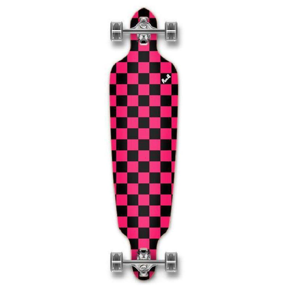 Punked Checkered Pink Drop Through Longboard - Longboards USA