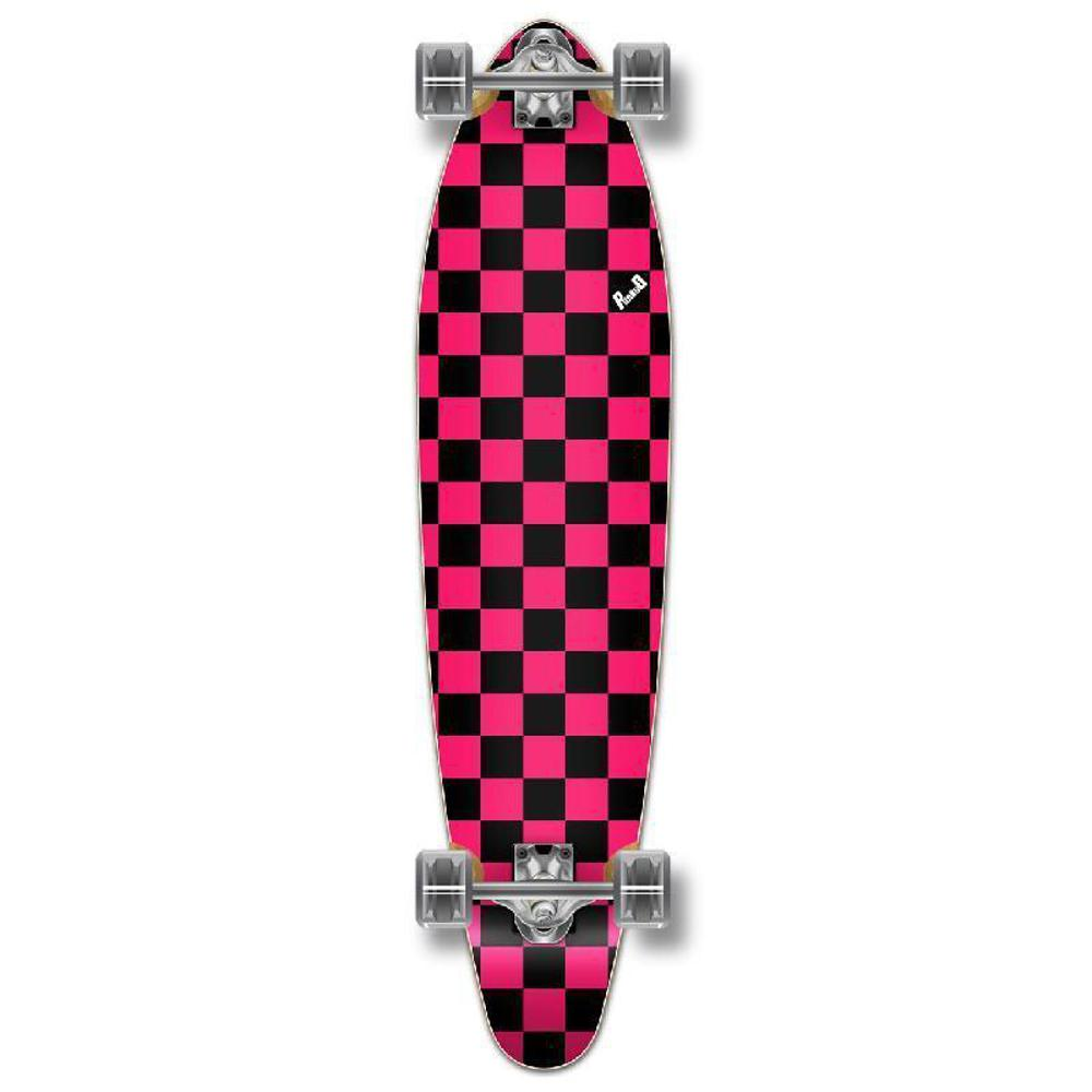 Punked Checkered Pink Kicktail Longboard - Longboards USA