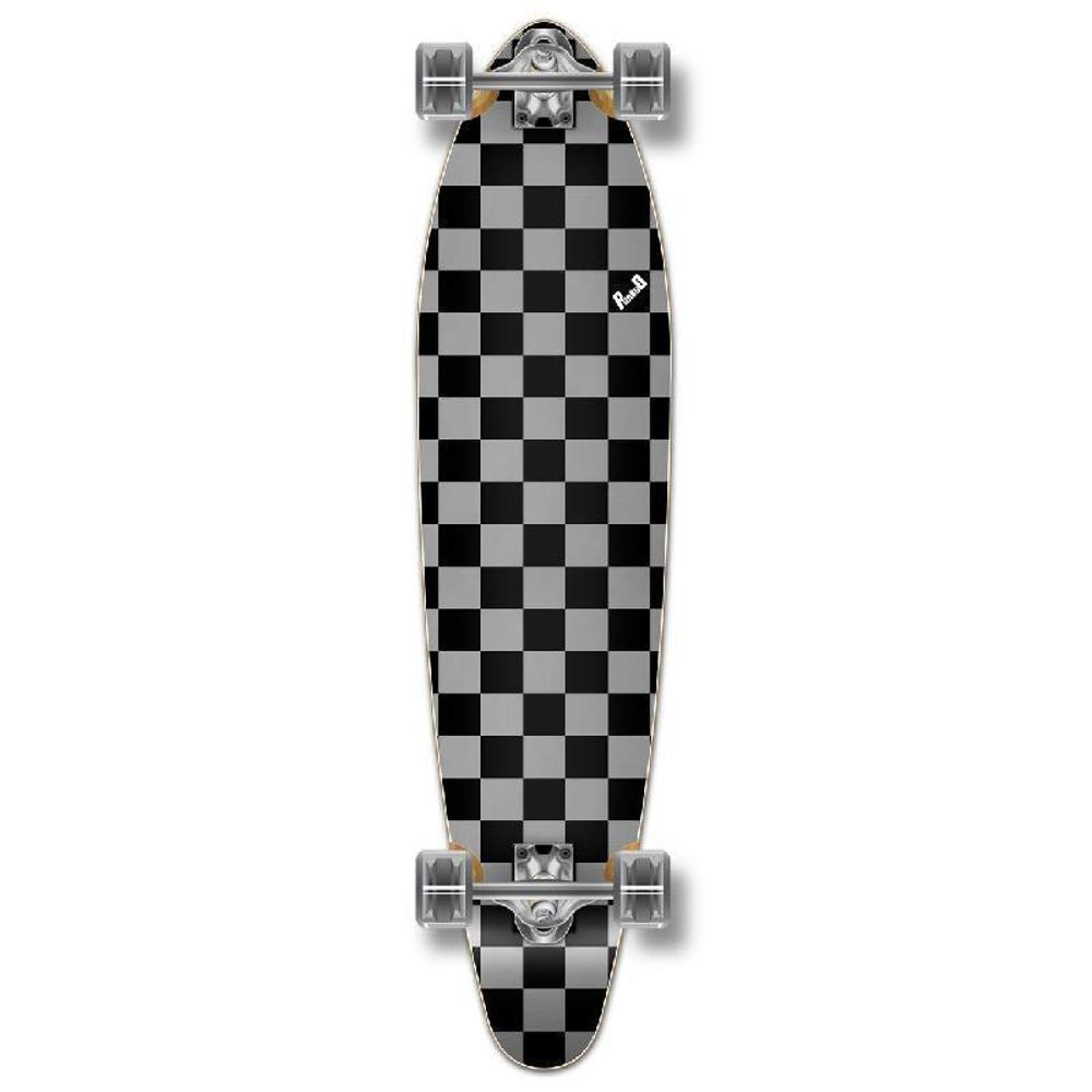 Punked Checkered Silver Kicktail Longboard - Longboards USA