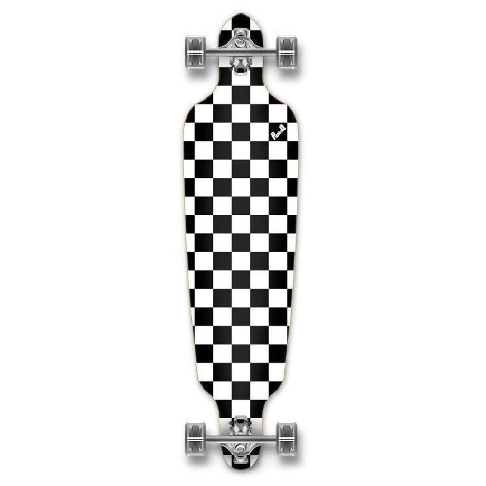 Punked Checkered White Drop Through Longboard - Longboards USA