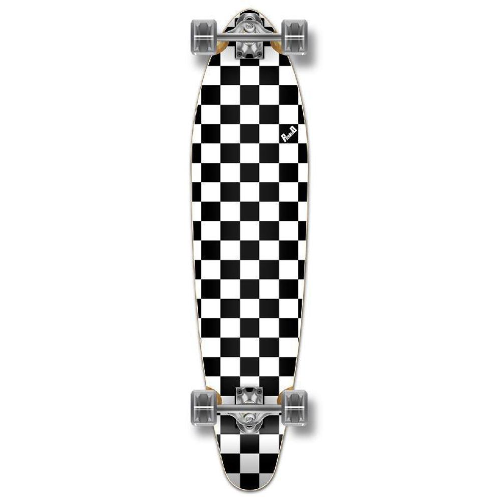 Punked Checkered White Kicktail Longboard - Longboards USA