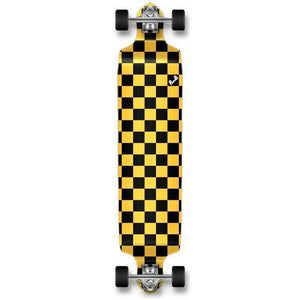 Punked Checkered Yellow Drop Down Downhill Longboard - Longboards USA