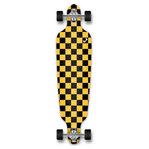 Punked Checkered Yellow Drop Through Longboard - Longboards USA