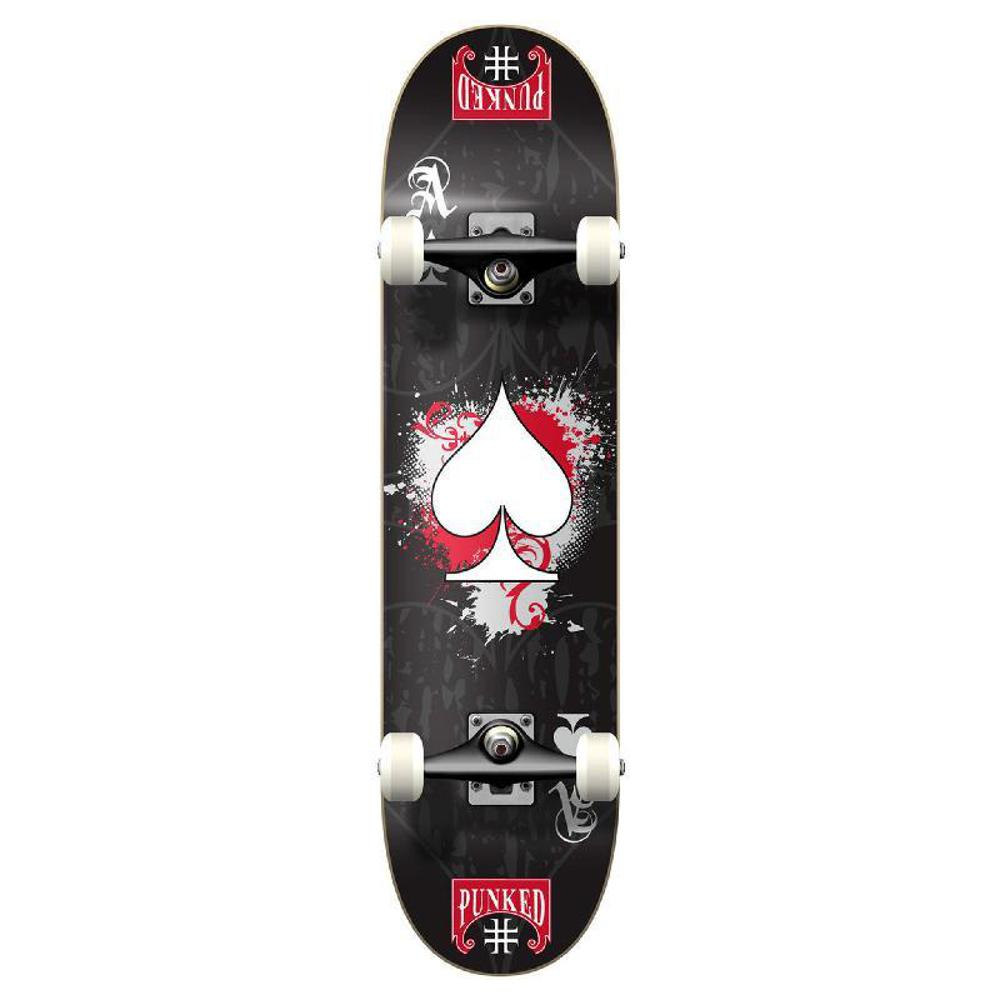 Punked Graphic Ace Black Complete Skateboard - Longboards USA
