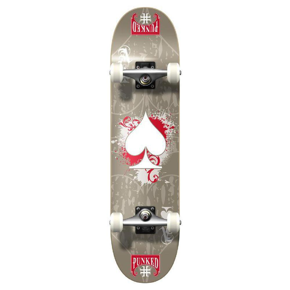 Punked Graphic Ace Grey Complete Skateboard - Longboards USA