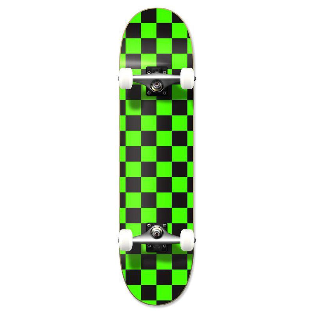 Punked Graphic Complete Skateboard - Checker Green - Longboards USA