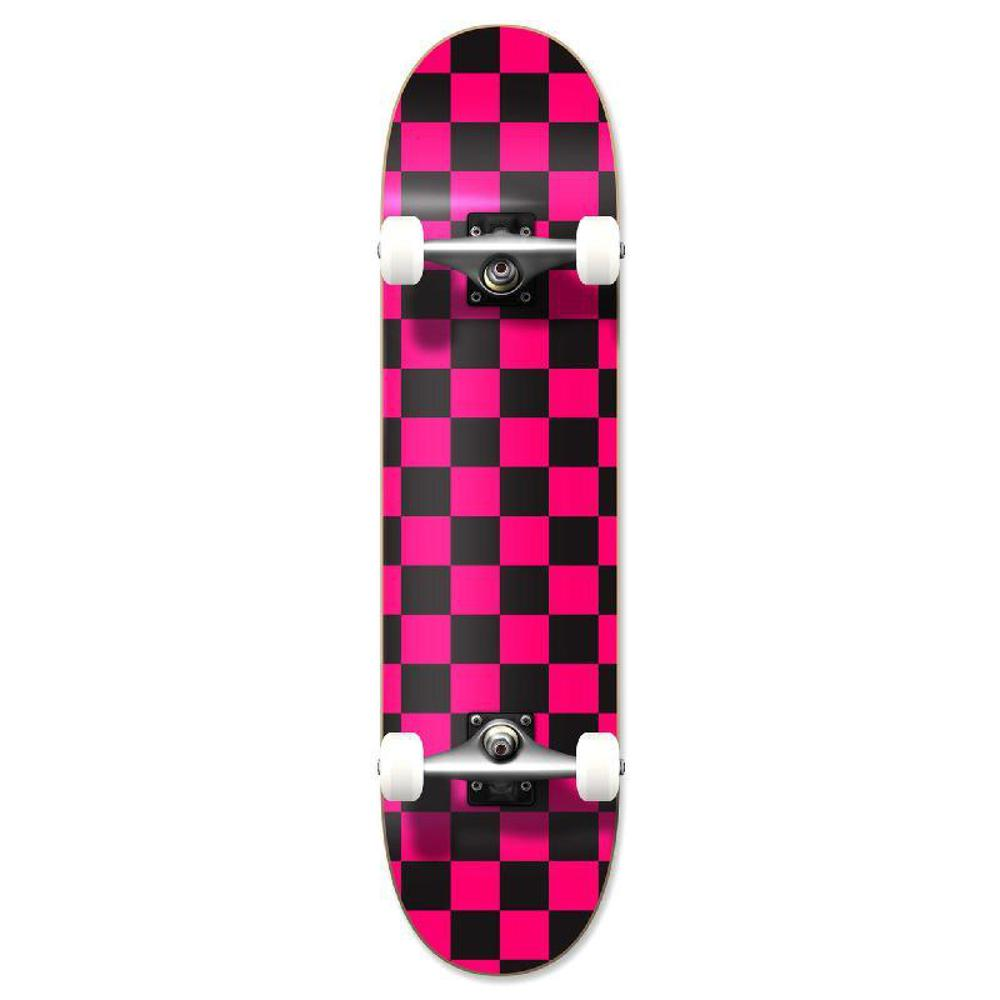 Punked Graphic Complete Skateboard - Checker Pink - Longboards USA