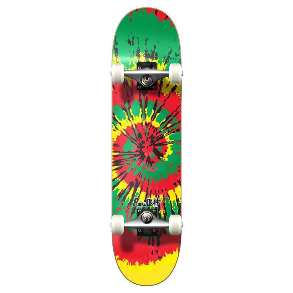 Punked Graphic Complete Skateboard - Tiedye Rasta - Longboards USA