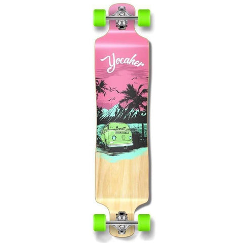 "Punked Lowrider Double Drop VW Pink N' Mint 40"" Longboard - Longboards USA"