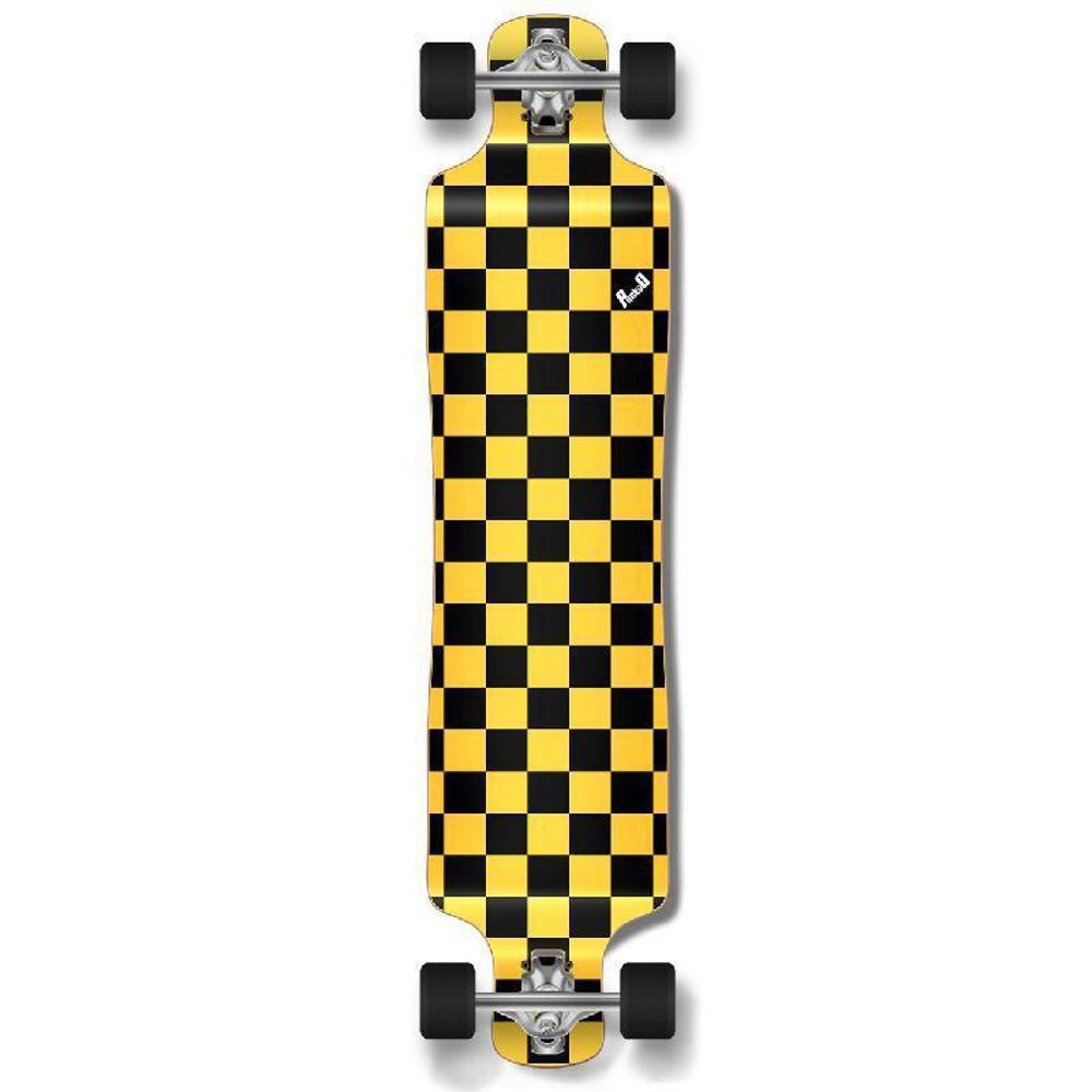 Punked Lowrider Longboard Complete - Checker Yellow - Longboards USA