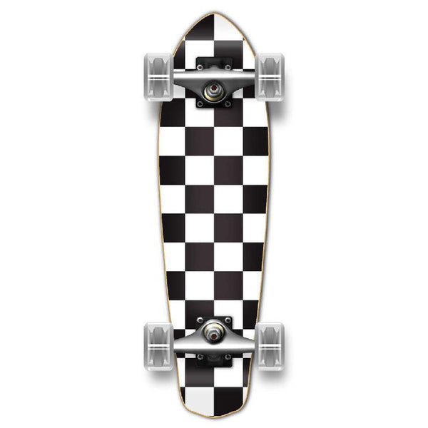Punked Micro Cruiser Complete - Checker White - Longboards USA
