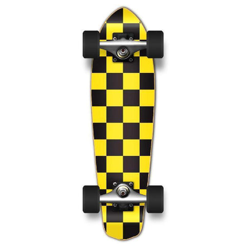 Punked Micro Cruiser Complete - Checker Yellow - Longboards USA