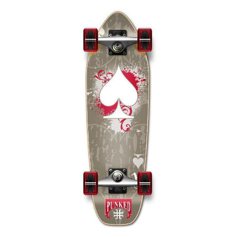 Punked Mini Cruiser Ace of Spades Complete - Grey Ace - Longboards USA