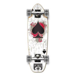 Punked Mini Cruiser Ace of Spades Complete - White Ace - Longboards USA