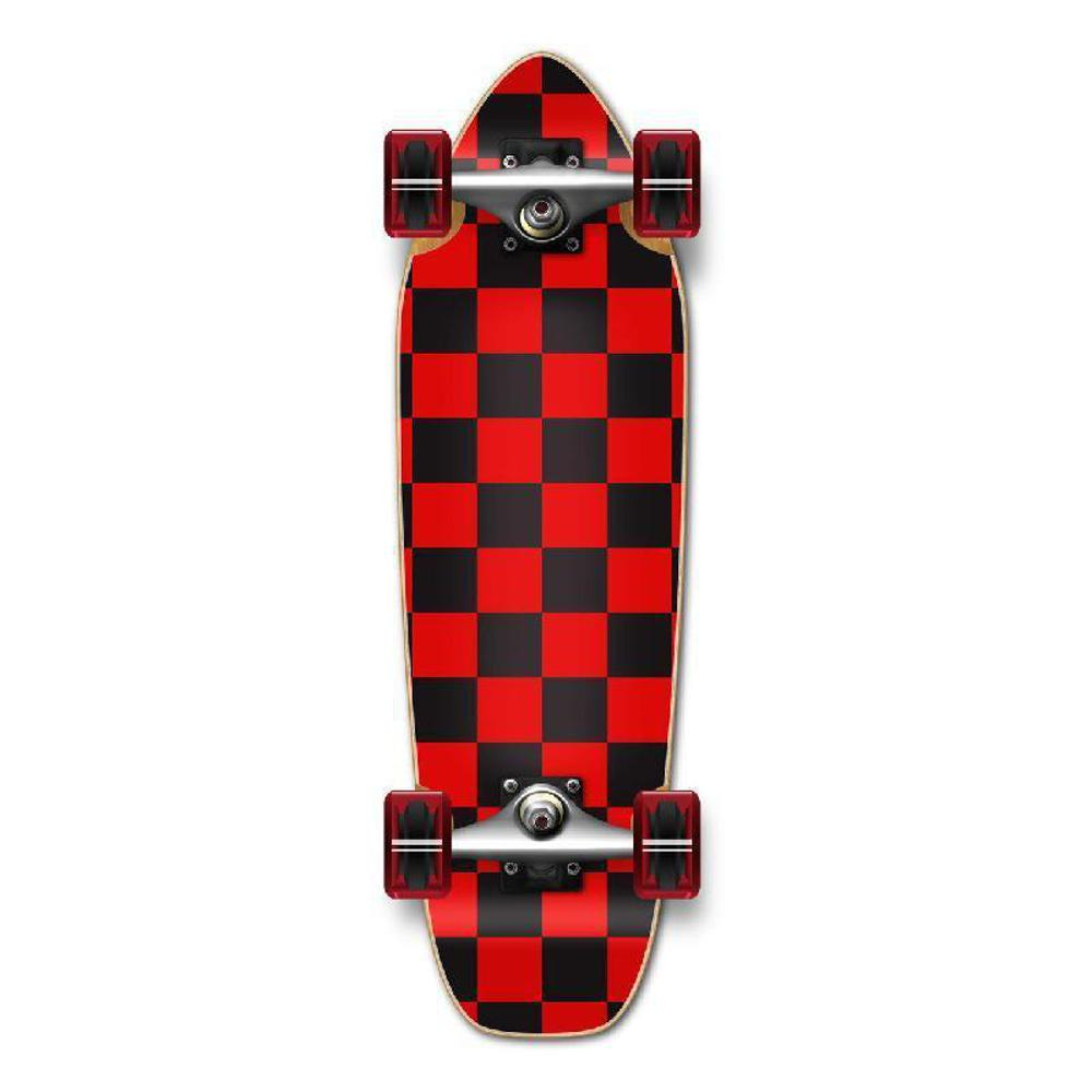 Punked Mini Cruiser Complete - Checker Red - Longboards USA