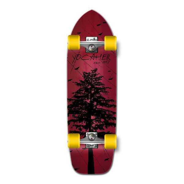 Punked Old School Longboard Complete - In the Pines Red - Longboards USA