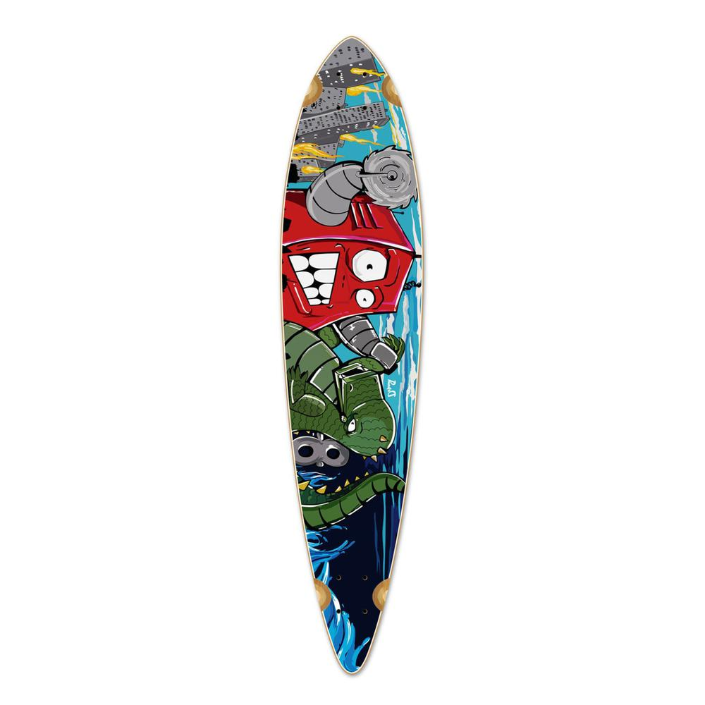 Punked Pintail Robot Longboard Deck - Longboards USA