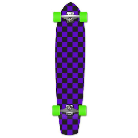 Punked Slimkick Longboard Complete - Checker Purple - Longboards USA