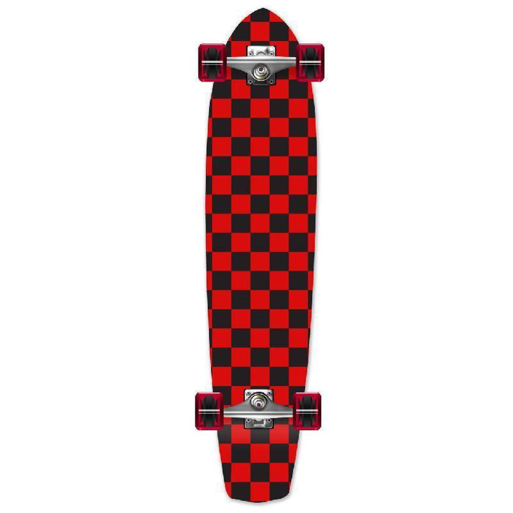 Punked Slimkick Longboard Complete - Checker Red - Longboards USA