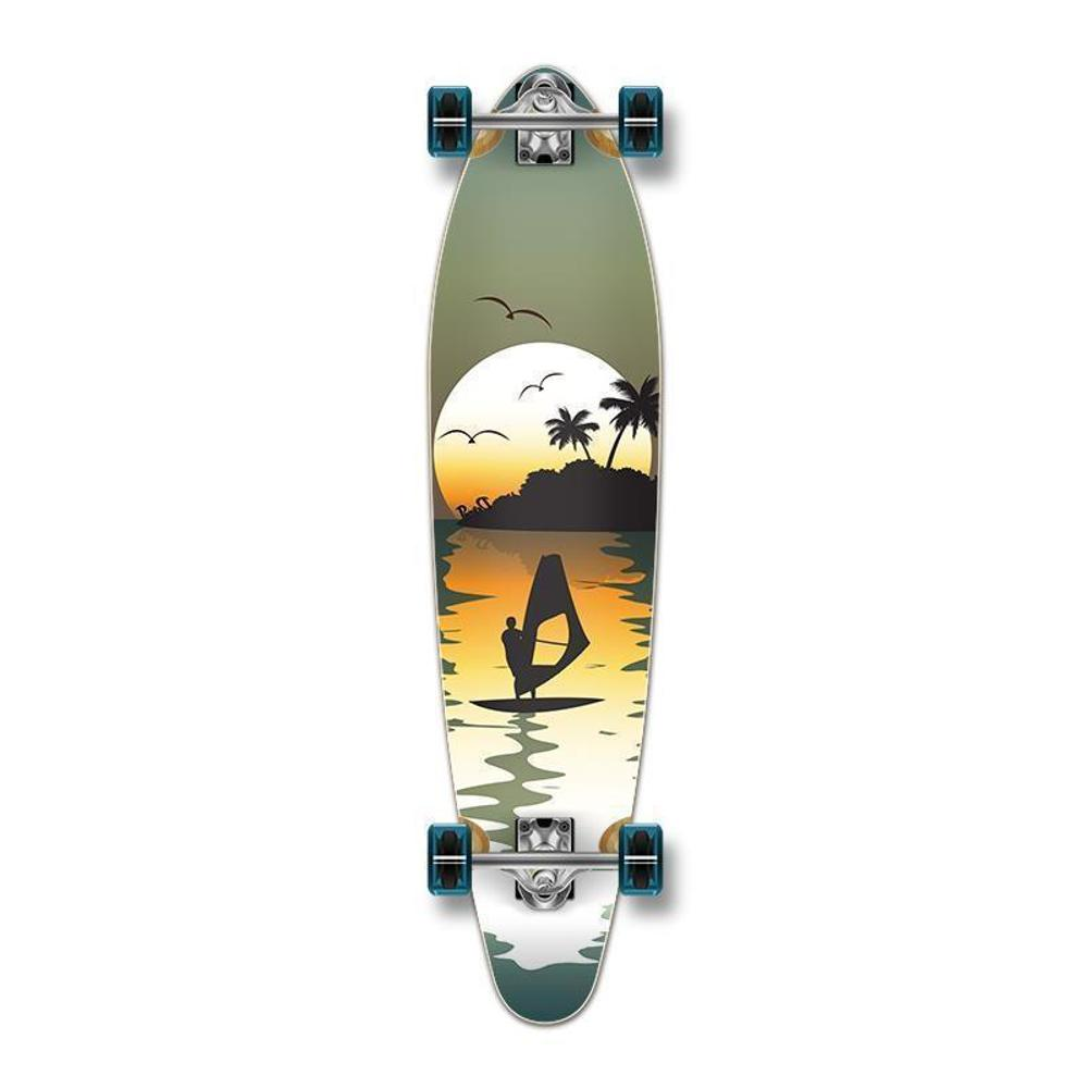 Punked Surfer Sunset Beach Green Kicktail 40 inches Longboard - Longboards USA