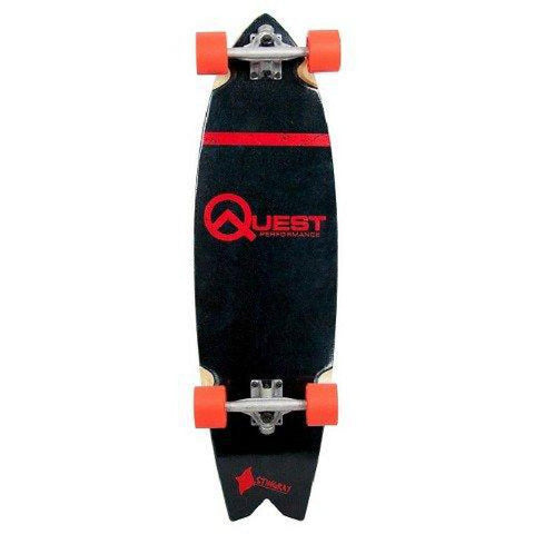 Quest Stingray Cruiser Board, 34.5″ Complete Skateboard Red - Longboards USA
