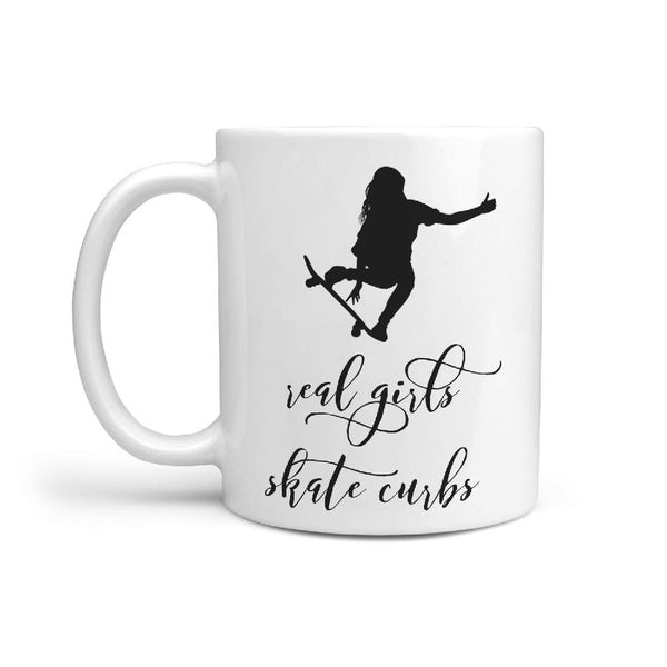 Real Girls Skate Curbs Coffee Mug Gift Idea for Skateboarder - Longboards USA