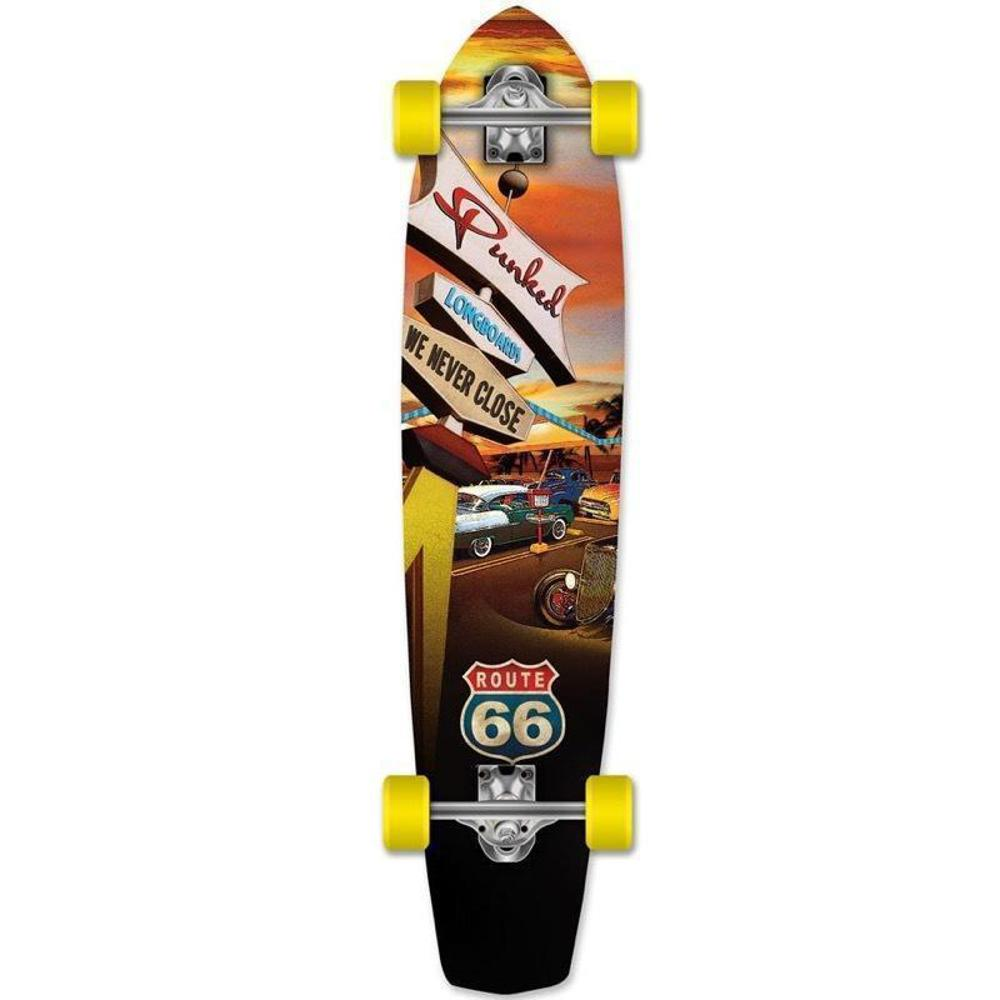 "Route 66 Diner 36"" Slimkick Longboard from Punked - Complete - Longboards USA"