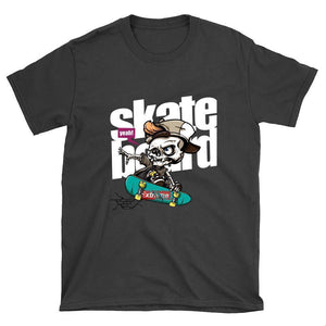 Skeleton with Cap Skateboard T-Shirt - Longboards USA