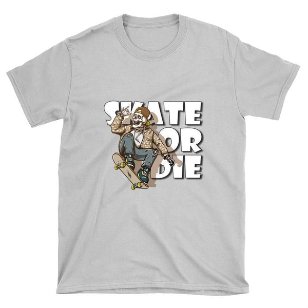 Skeleton with Flannel Shirt Skate or Die T-Shirt - Longboards USA