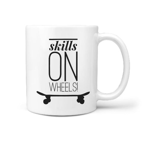 Skills On Wheels - Coffee Mug Gift for Skateboarder - Longboards USA