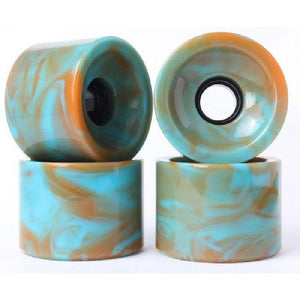 Solid Blended Blue Orange 70mm Gel Soft Longboard Wheels - Longboards USA