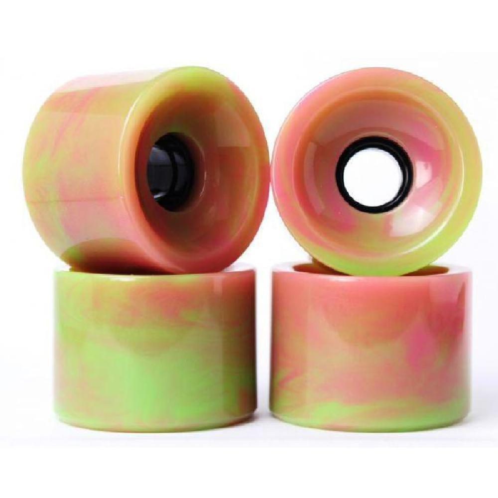 Solid Blended Pink Green 70mm Gel Soft Longboard Wheels - Longboards USA