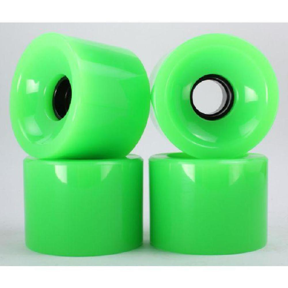 Solid Neon Green 70mm Gel Soft Longboard Wheels - Longboards USA