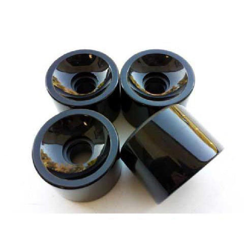 Square Lipped Wheel Set - Solid Black 70mm x 80a - Longboards USA