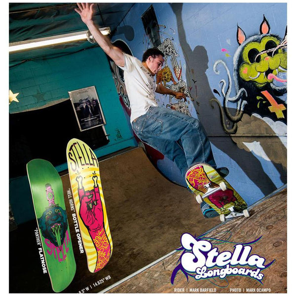 "Stella Bottle Opener Hell Horns 32"" Longboard Deck-Longboards USA"