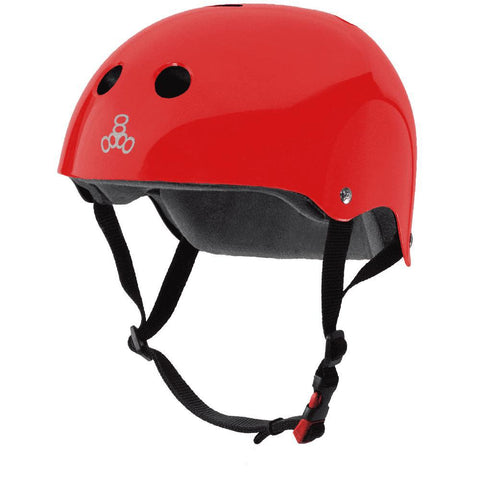 Triple 8 Certified Sweatsaver Helmet Red Gloss Skate Helmet - Longboards USA