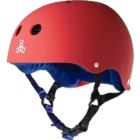Triple 8 Red Matte Blue Skateboard Longboard Helmet - Longboards USA