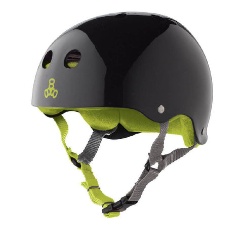 Triple 8 Sweatsaver Black Gloss Green Skate Helmet - Longboards USA