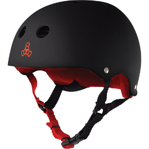 Triple 8 Sweatsaver Black Matte Red Skate Helmet - Longboards USA