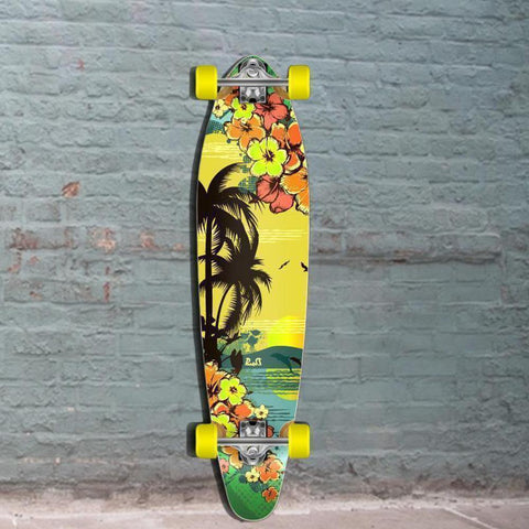 "Tropical Day Kicktail Longboard 40"" from Punked - Longboards USA"