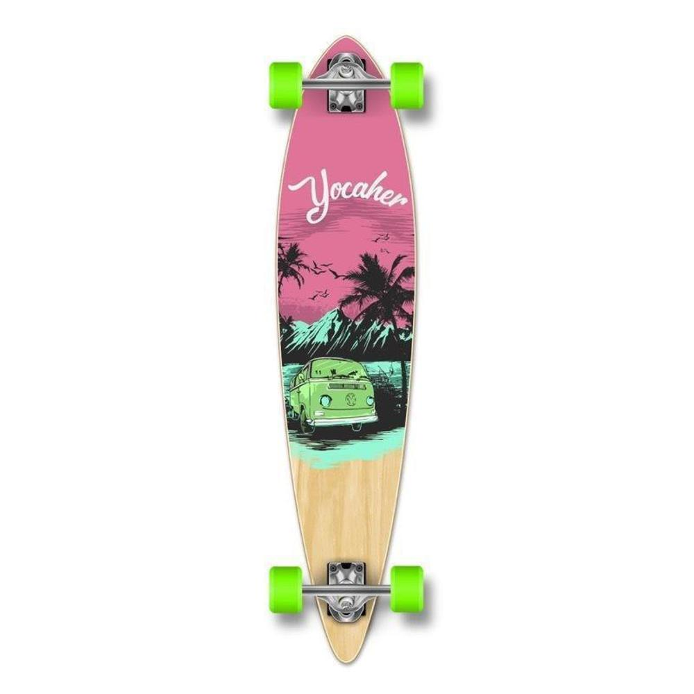 "VW Pink N' Mint 36"" Slimkick Longboard from Punked - Complete - Longboards USA"