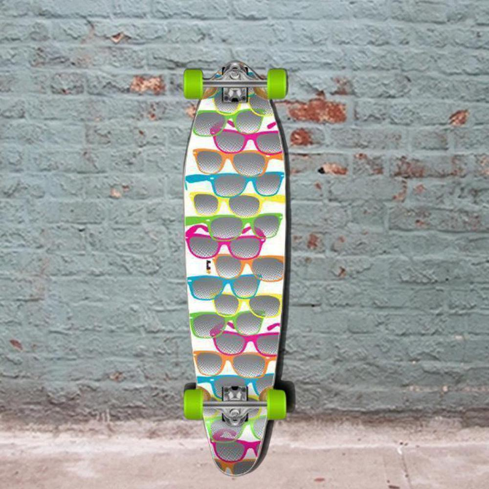 "White Shades Kicktail Longboard 40"" from Punked - Complete - Longboards USA"