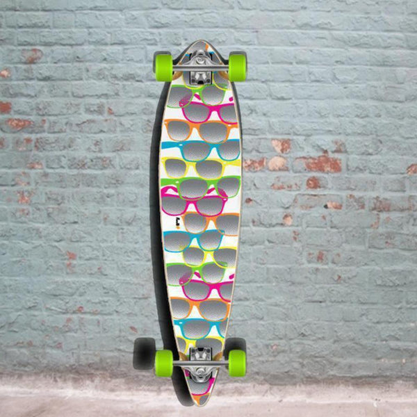 White Shades Pintail Longboard 40 inch from Punked - Complete - Longboards USA